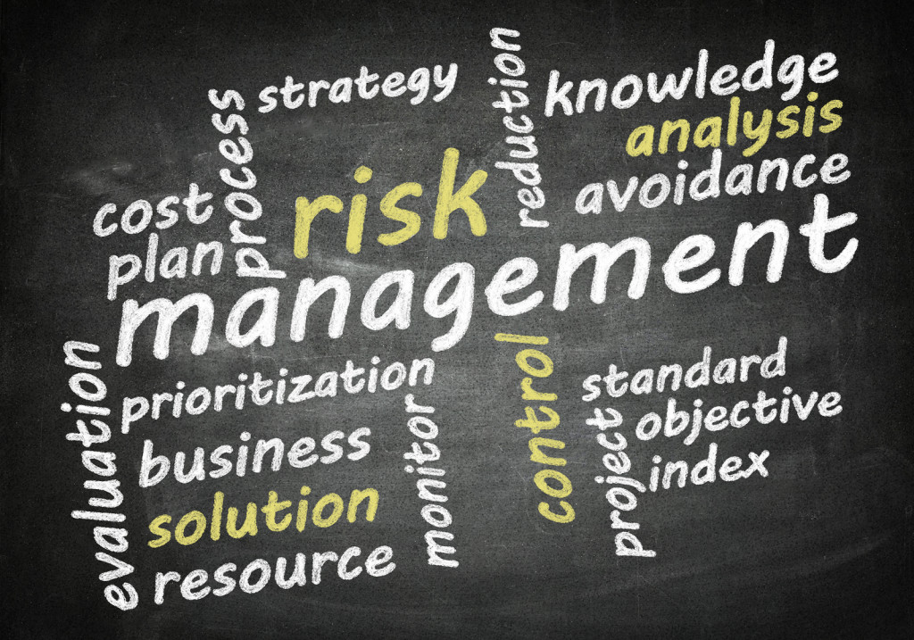 risk management word cloud concept on chalkboard