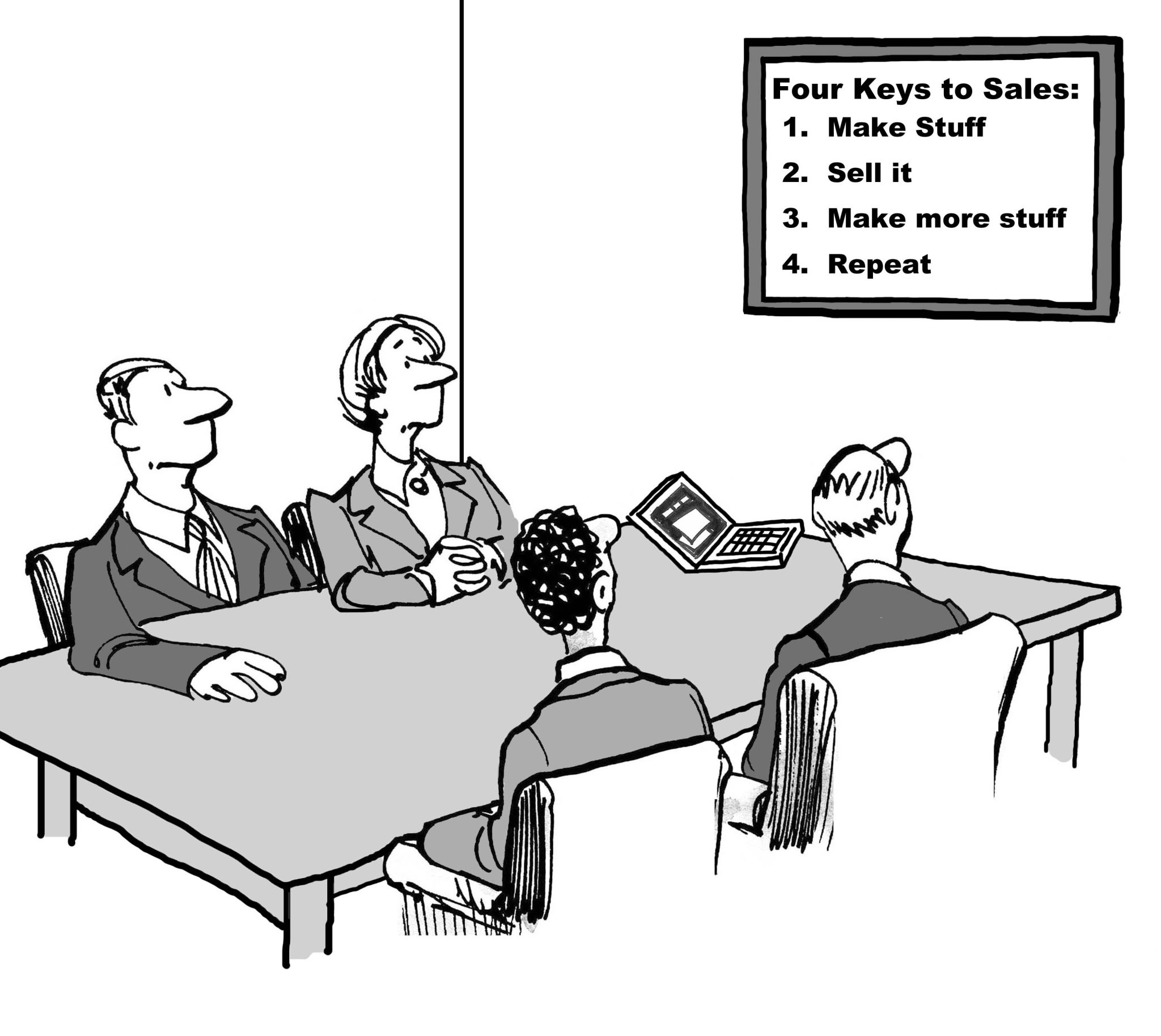 Cartoon of business people in a meeting looking at a chart that has the four keys to sales.
